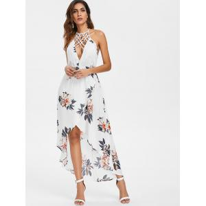 Strappy Front Floral Backless High Low Dress -