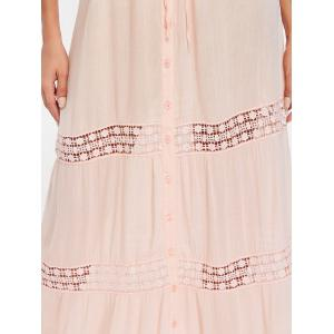 Button Down Lace Insert Maxi Dress -