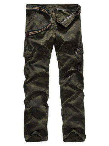 Store Zipper Fly Camouflage Print Cargo Pants