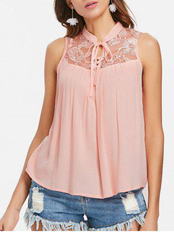 Fashion Mesh Panel Embroidery Sleeveless Blouse