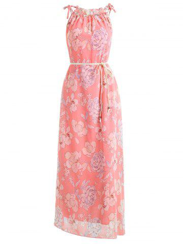 Outfit Floral Print Belted Chiffon Maxi Dress