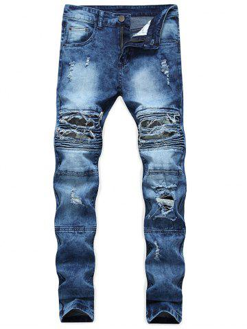 Sale Ribbed Camo Panel Zip Fly Destroyed Jeans