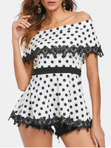 Affordable Off The Shoulder Polka Dot Flounce Blouse