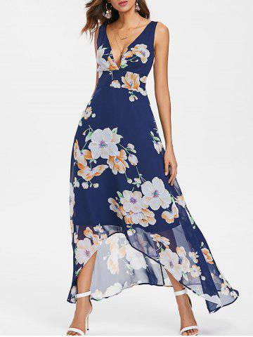 Latest Floral Print Plunging Neckline Maxi Chiffon Dress