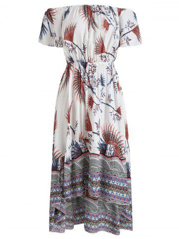 Cheap Print Off The Shoulder Asymmetric Dress