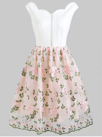 Best Foral Embroidery High Waist Sleeveless Flare Dress