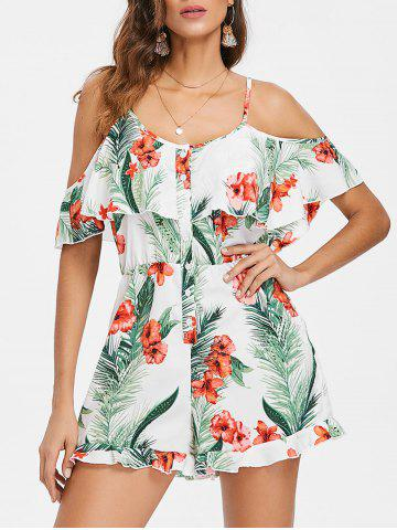 Fancy Cold Shoulder Floral Leaf Print Romper