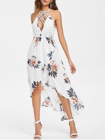 Outfit Strappy Front Floral Backless High Low Dress