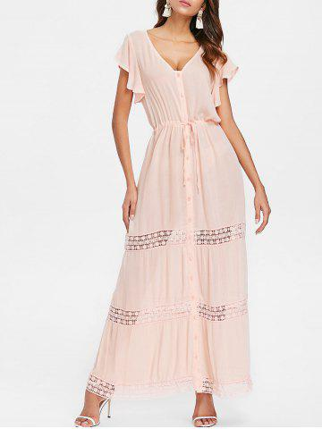 Unique Button Down Lace Insert Maxi Dress