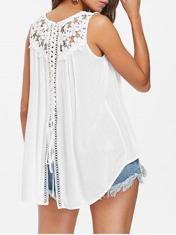 Affordable Back Slit Lace Panel Tank Top