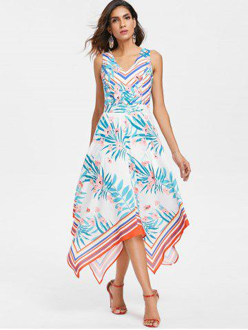 Plant and Stripe Print Handkerchief Dress