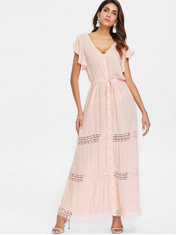 Button Down Lace Insert Maxi Dress