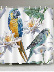 Parrot Flower Printed Waterproof Bathroom Curtain -