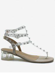 Chunky Heel Transparent Ankle Strap Sandals -