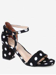 Chic Mid Heel Polka Dot Ankle Strap Sandals -