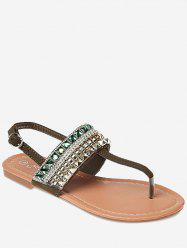 Faux Crystal Buckle Strap Beach Sandals -