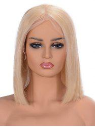 Center Parting Straight Bob Lace Front Human Hair Wig -