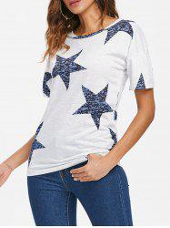 Star Print Round Neck T-shirt -