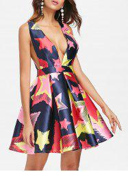 Double V Printed Mini Skater Dress -
