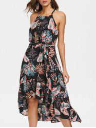 Leaf Print Sleeveless High Low Dress -