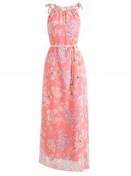Floral Print Belted Chiffon Maxi Dress -