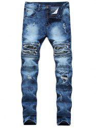Ribbed Camo Panel Zip Fly Destroyed Jeans -