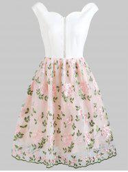 Foral Embroidery High Waist Sleeveless Flare Dress -