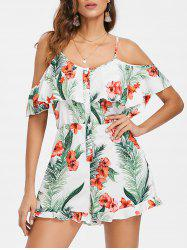 Cold Shoulder Floral Leaf Print Romper -