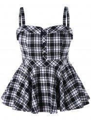 Plus Size Plaid Peplum Tank Top -