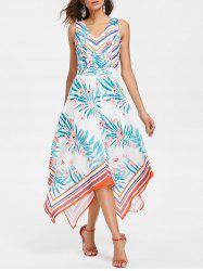 Plant and Stripe Print Handkerchief Dress -