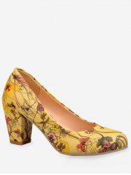 Plus Size Floral Print Mid Heel Chic Pumps -