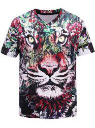 3D Tiger Flowers Printed V-Neck T-shirt -