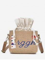 Letter Embroidery Strings Straw Crossbody Bag -
