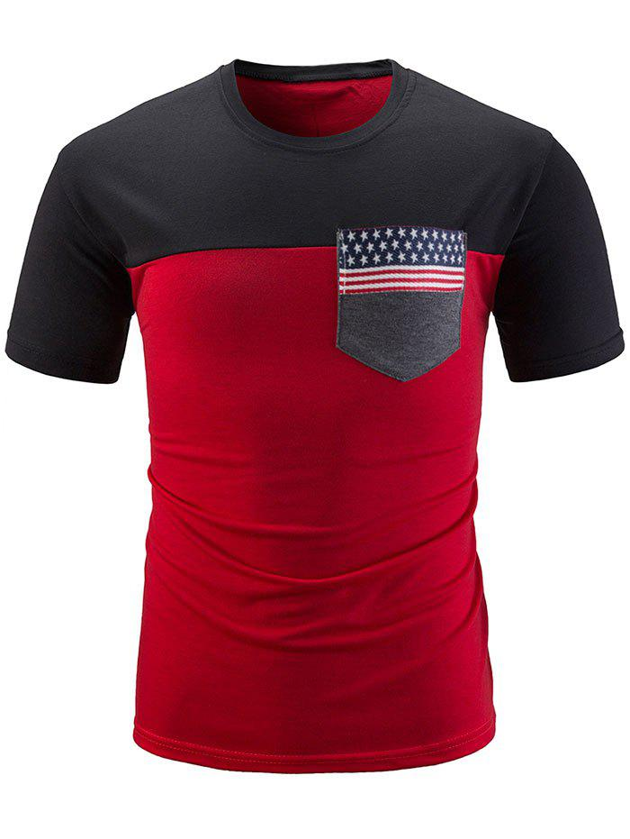 Affordable Stars and Stripes Print Contrast Color T-shirt