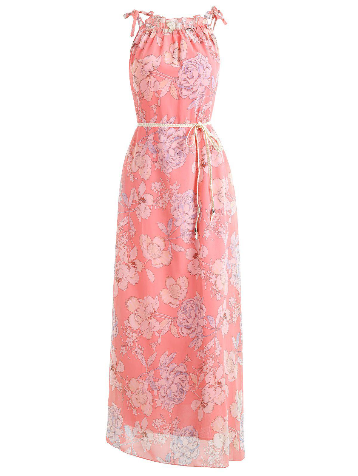 Online Floral Print Belted Chiffon Maxi Dress