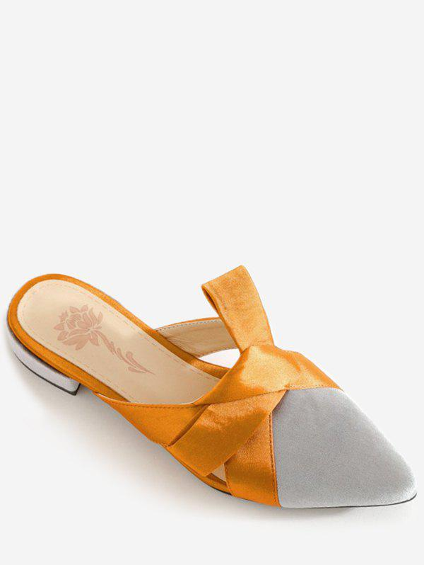 Store Plus Size Leisure Contrasting Color Pointed Toe Mules Shoes