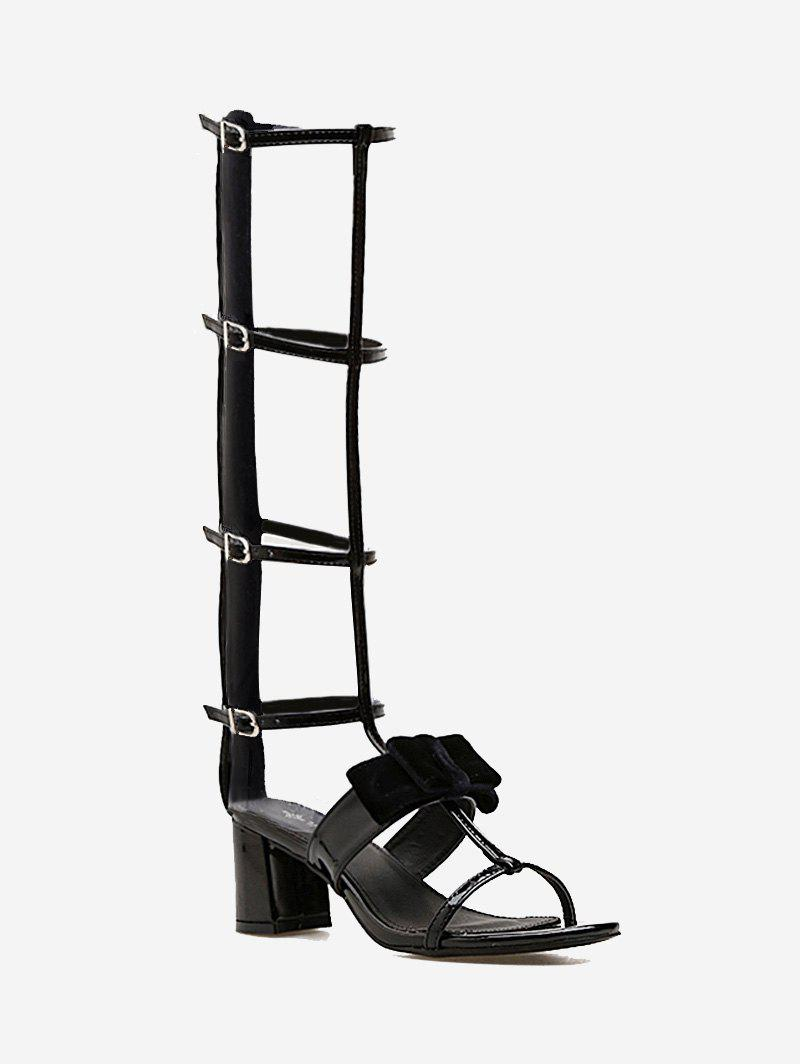 Discount Strappy Block Heel Gladiator Bowknot Sandals