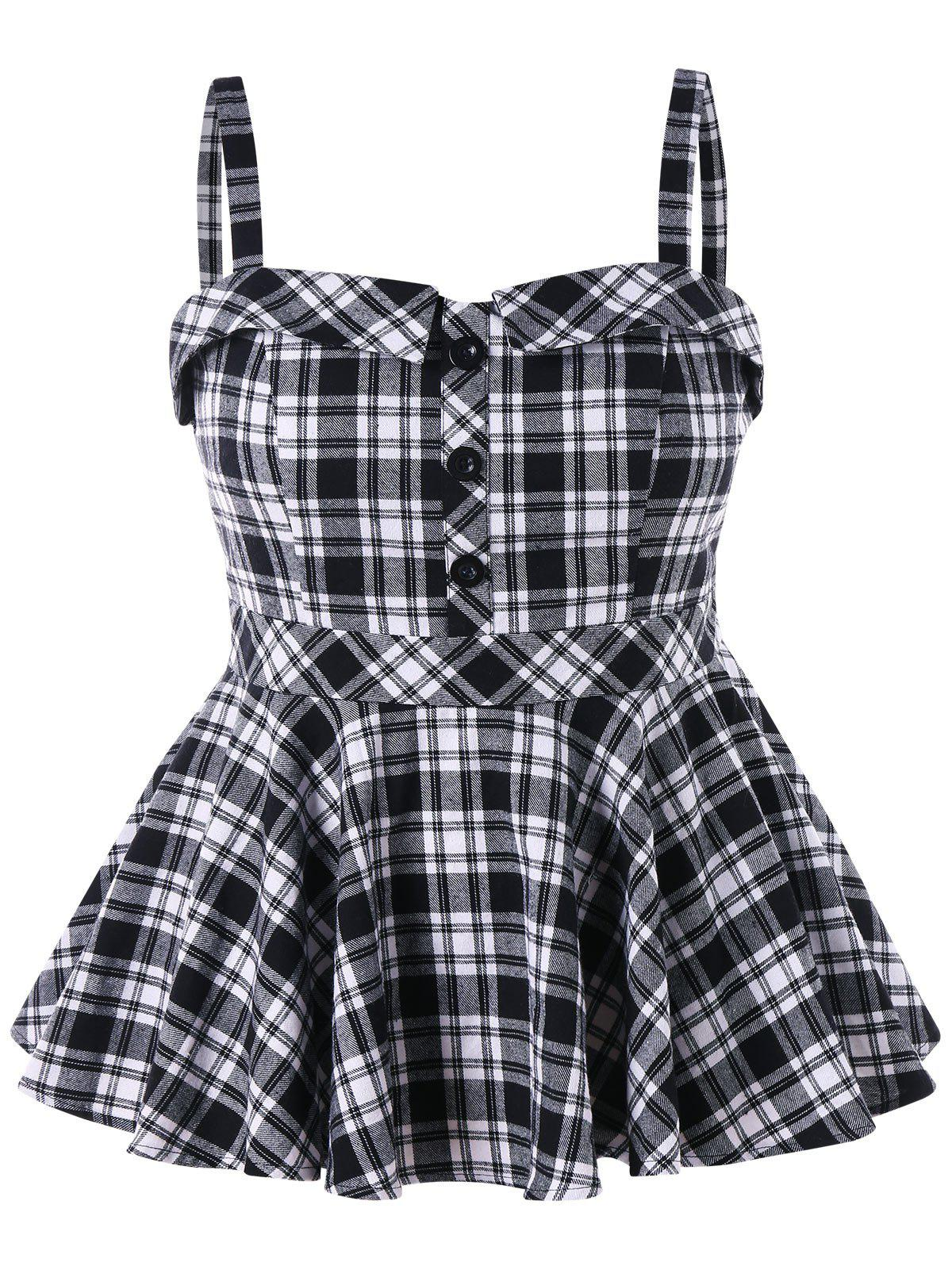 Latest Plus Size Plaid Peplum Tank Top