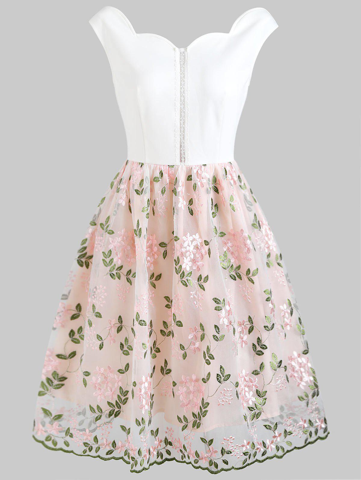 Latest Foral Embroidery High Waist Sleeveless Flare Dress