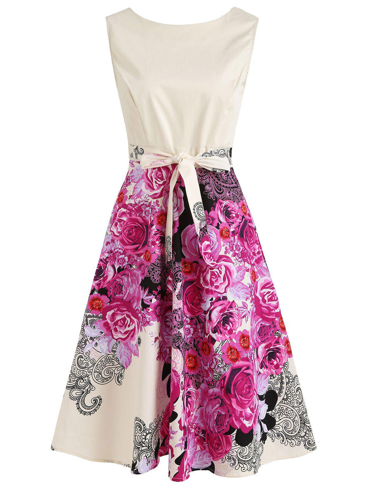 Discount Floral Sleeveless Tie Waist A Line Midi Dress