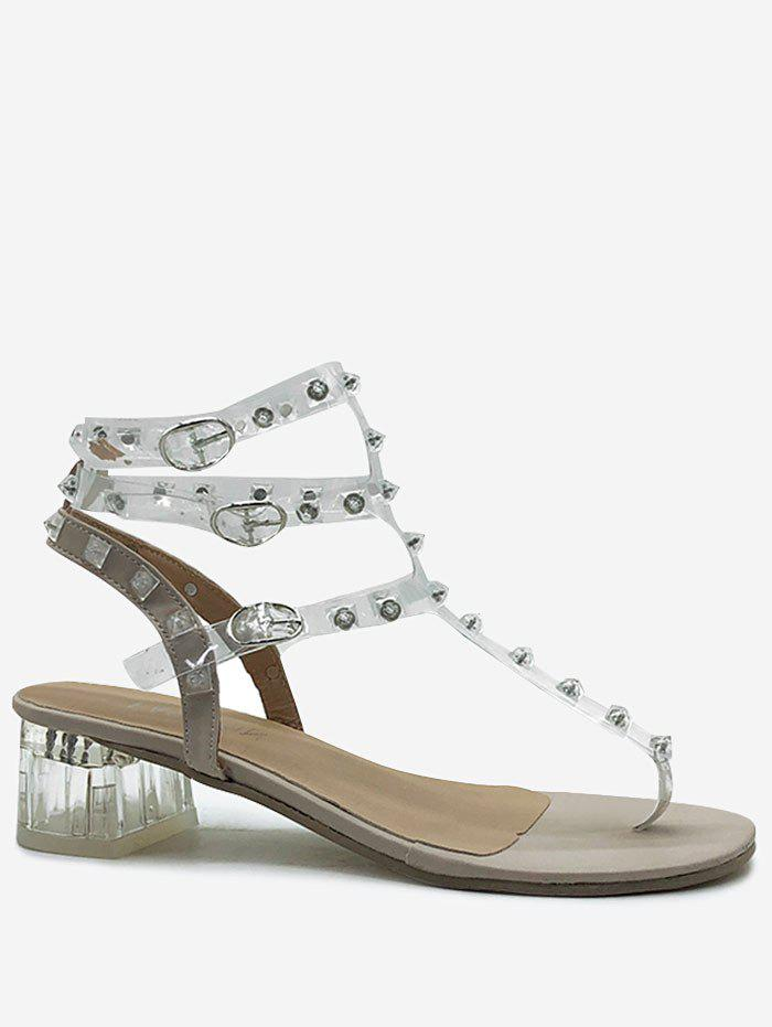 Hot Chunky Heel Transparent Ankle Strap Sandals