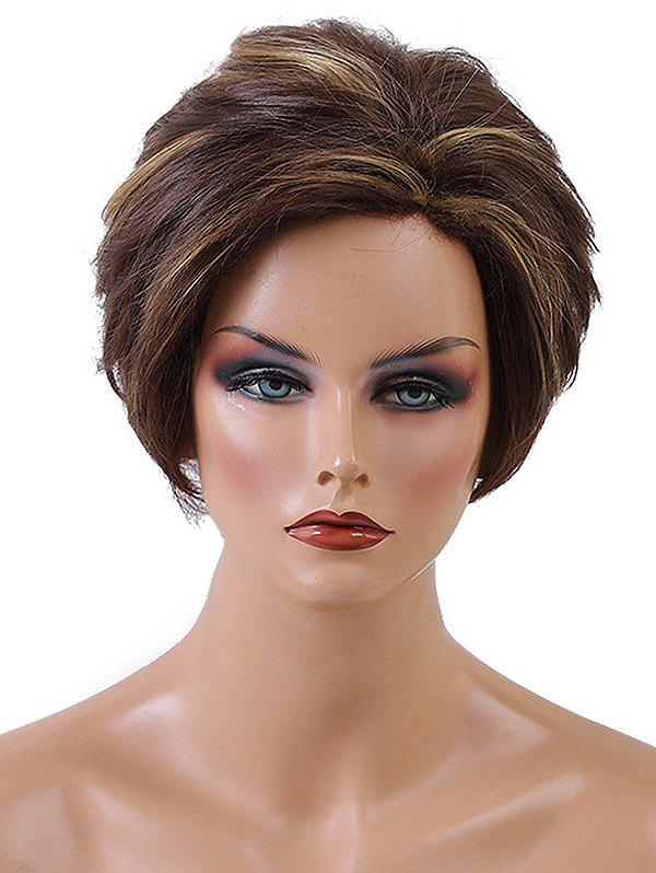 Unique Short Side Bang Layered Colormix Natural Straight Synthetic Wig