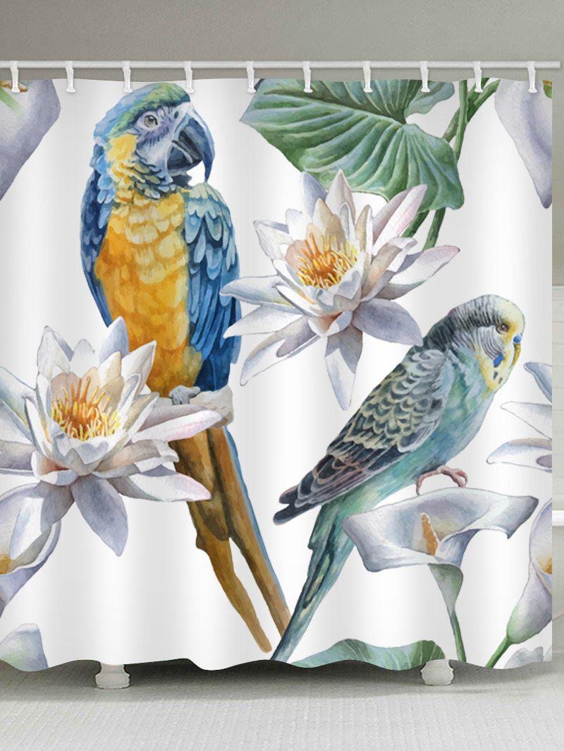 Shops Parrot Flower Printed Waterproof Bathroom Curtain