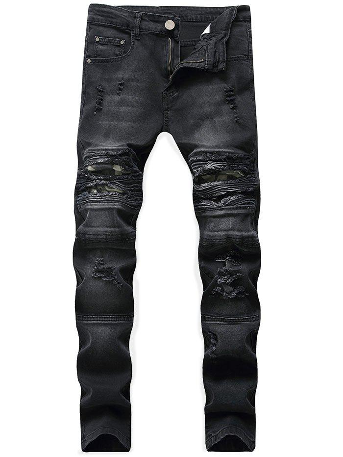 Latest Ribbed Camo Panel Zip Fly Destroyed Jeans