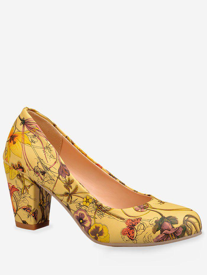 Best Plus Size Floral Print Mid Heel Chic Pumps