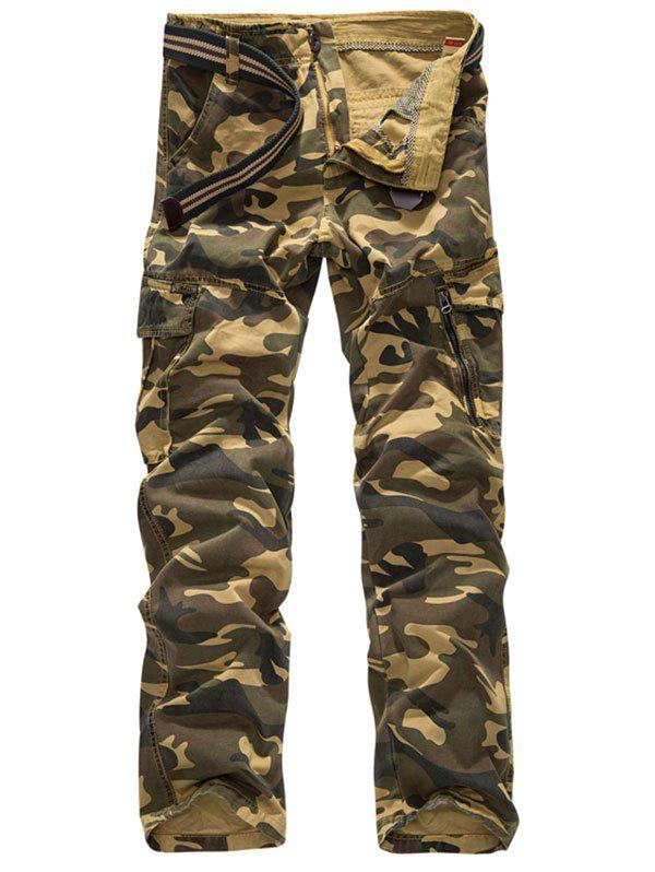 Shops Zipper Fly Camouflage Print Cargo Pants