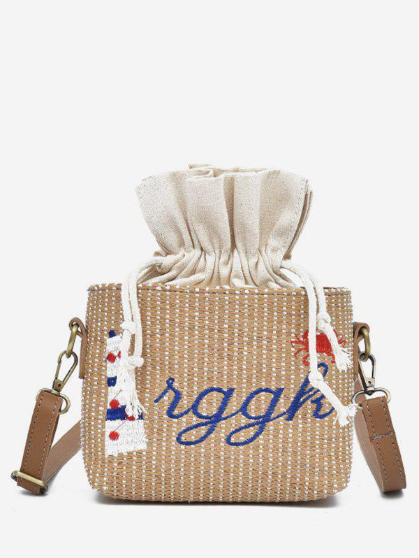 Hot Letter Embroidery Strings Straw Crossbody Bag