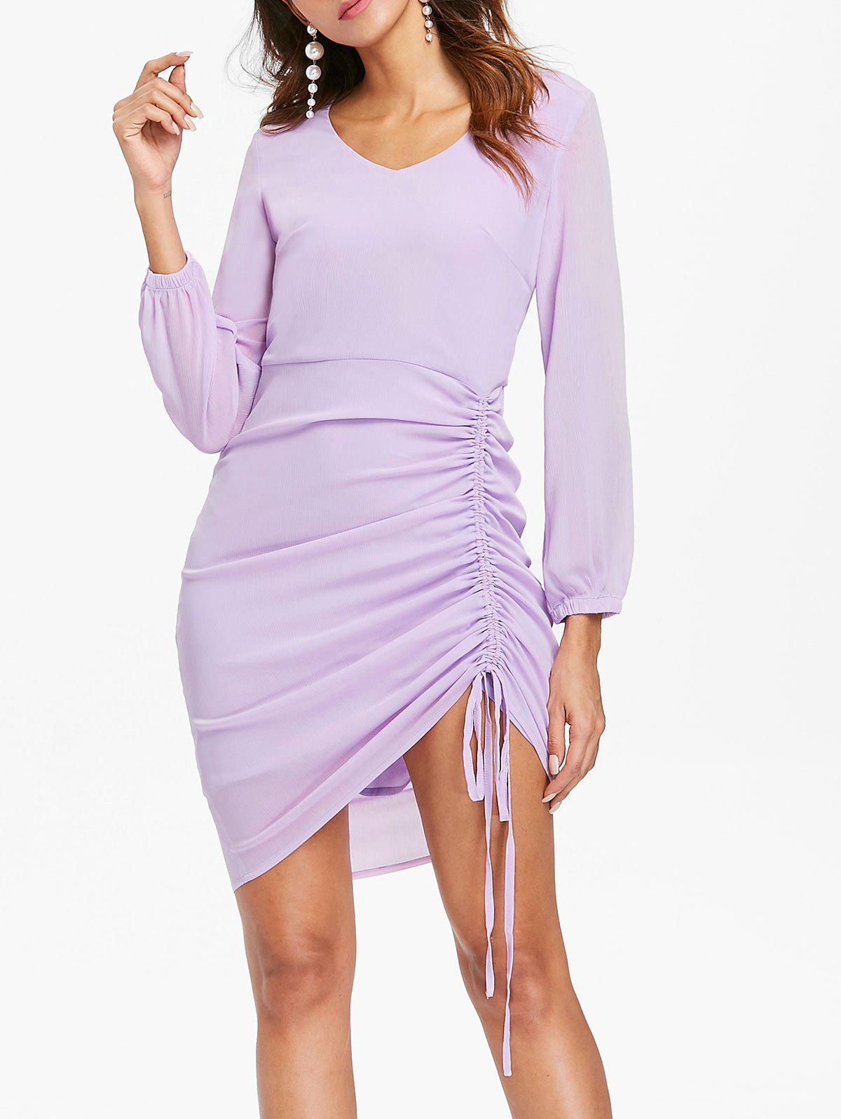 Cheap Casual Side Ruched Asymmetric Dress