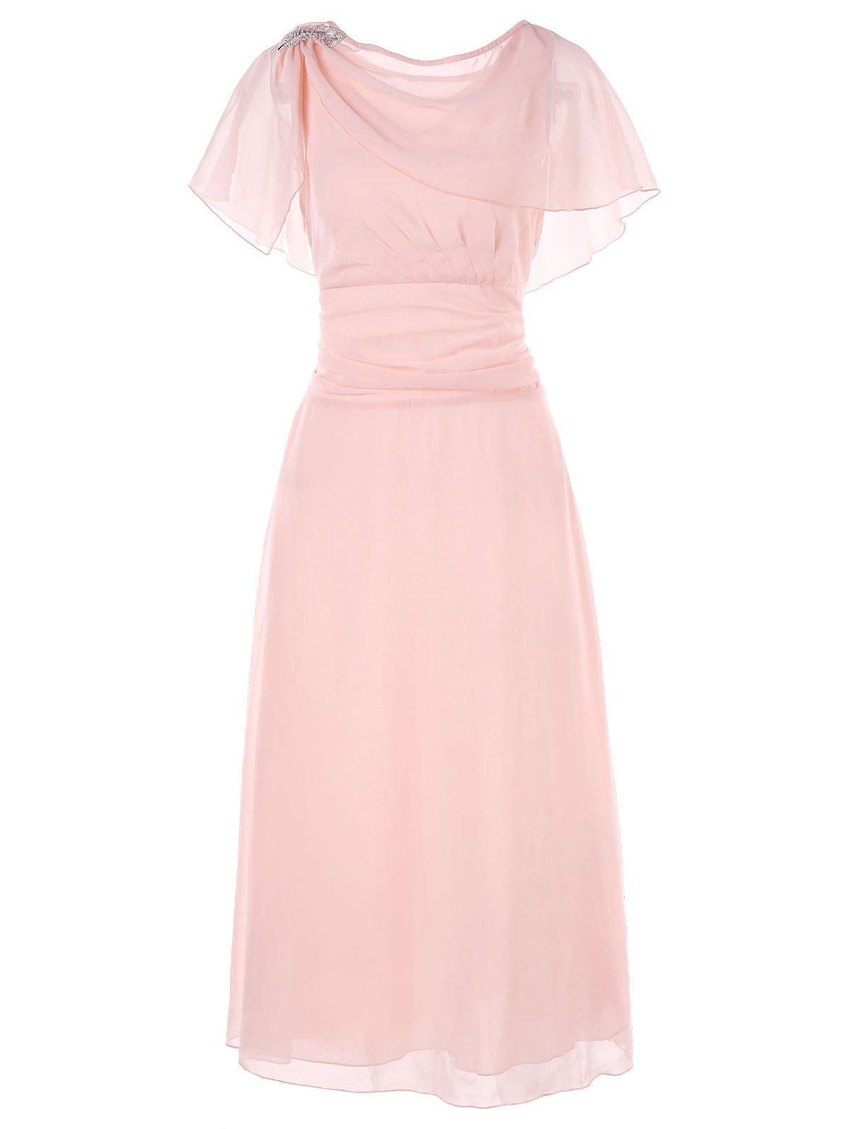 Trendy Brooch Chiffon Evening Dress