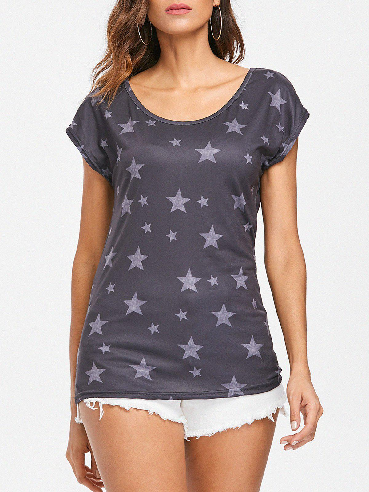 Chic Star Print Scoop Neck T-shirt